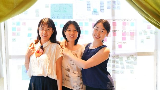Three women from the See For She project on harassment and discrimination.