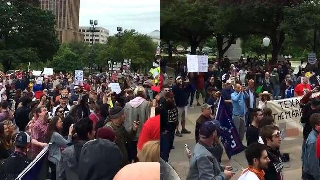 """反""""居家令"""",美国上百人聚集抗议:炒掉福奇!现场没人戴口罩"""
