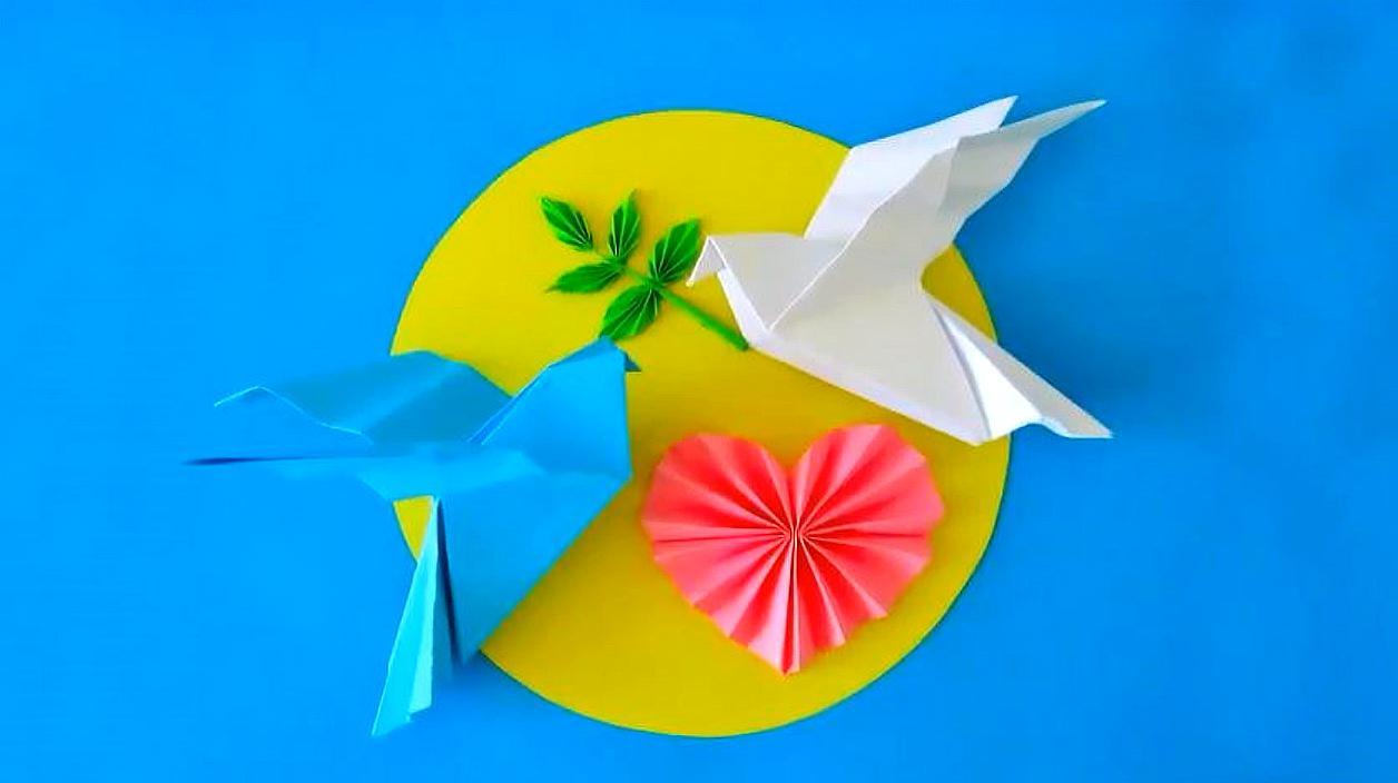 教你用彩紙折出好看的信鴿,摺紙教程!