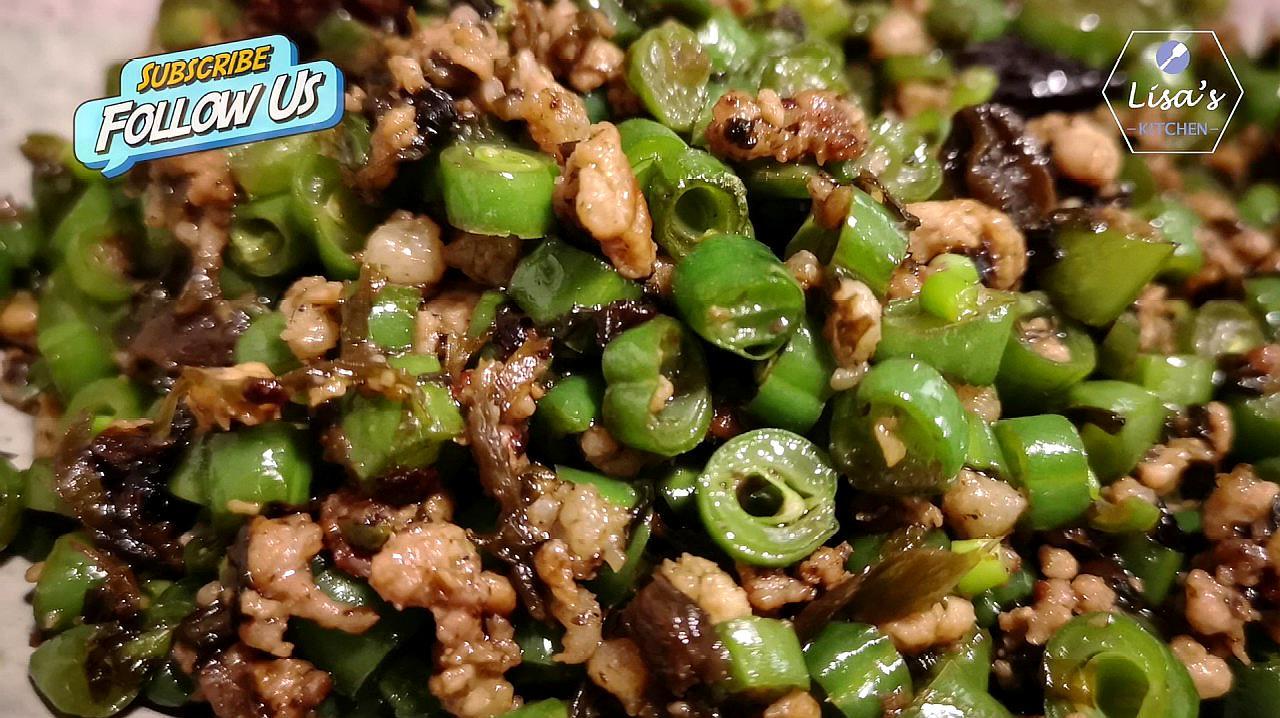 榄菜肉末四季豆的做法视频