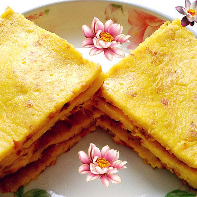 南瓜鸡蛋火腿煎饼,简单快手的早餐小饼,手不沾面就能做