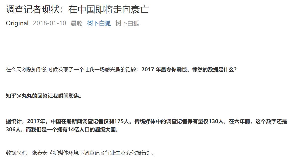 「调查记者」这一职业在中国的衰亡
