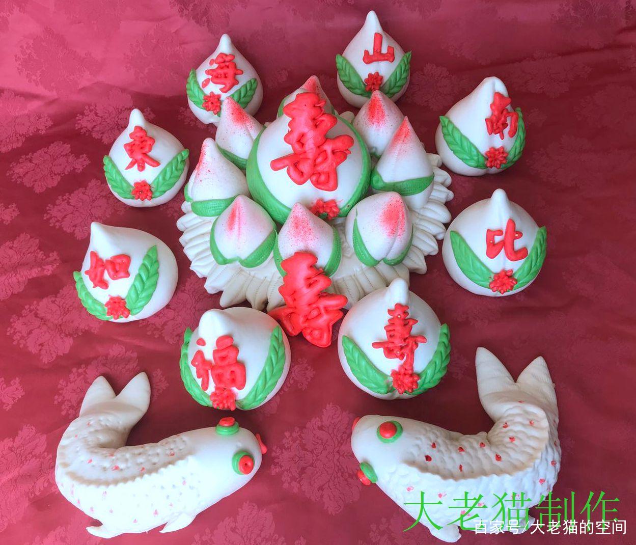 喜庆的中国传统寿桃馒头
