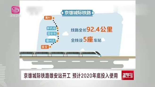 京雄城际铁路雄安站开工 预计2020年底投入使用