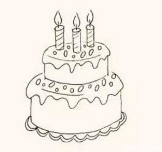 儿童简笔画教程-粉红色的生日蛋糕,快让孩子们来吹蜡烛吧