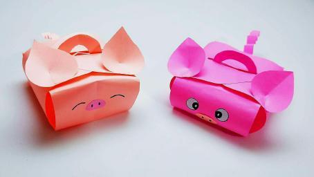 2分鐘不到學會摺紙小豬禮盒,裝禮物送同學很合適,看了就喜歡