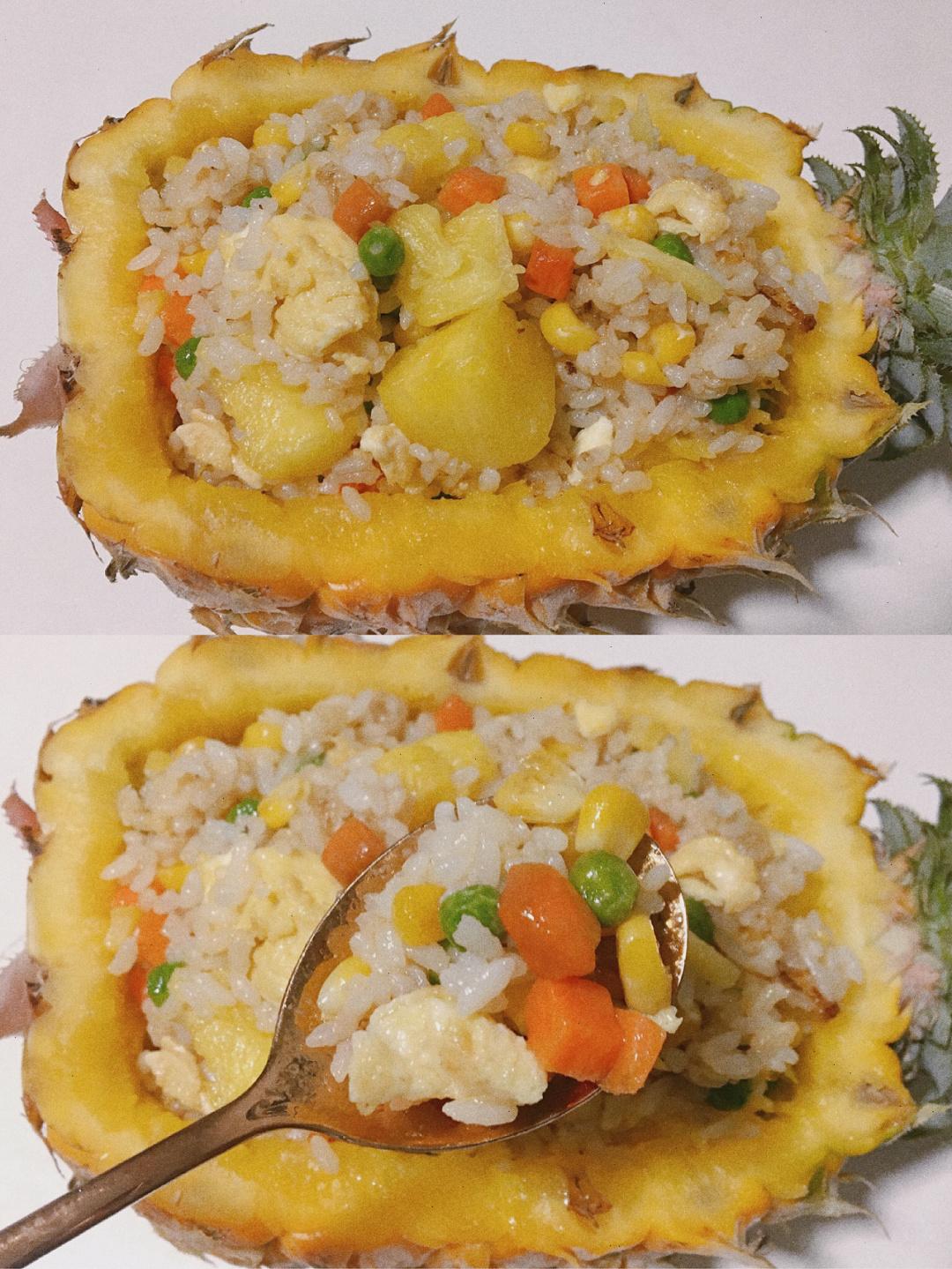 秒杀蛋炒饭的菠萝炒饭,喷香的米饭伴随菠萝的酸甜,一锅都不够吃
