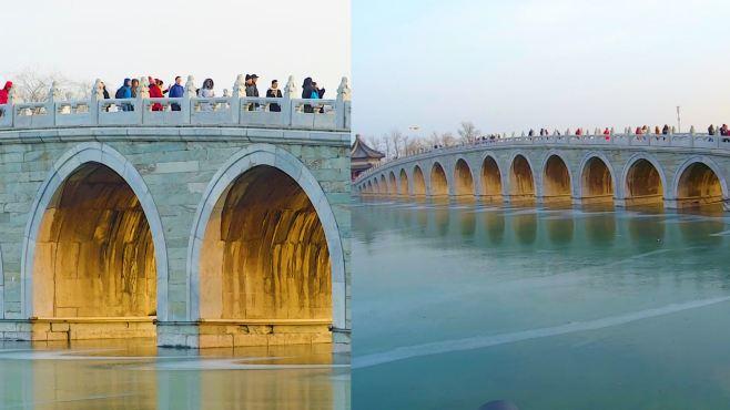 """神奇!颐和园现冬日美景""""金光穿洞"""":夕阳穿过十七孔桥"""