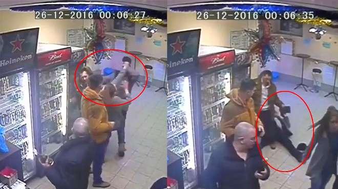 一拳KO!俄罗斯女店员8秒撂倒闹事醉汉