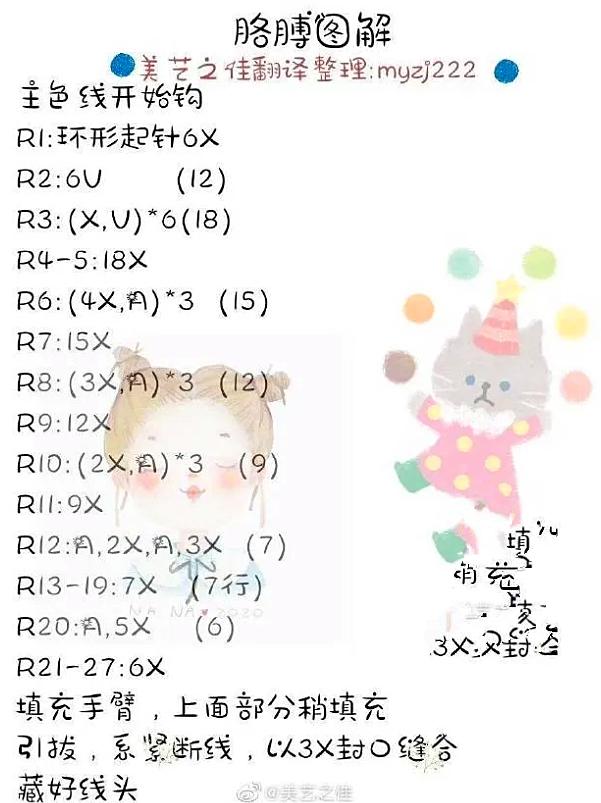 钩针玩偶图解:2款特别可爱的兔子