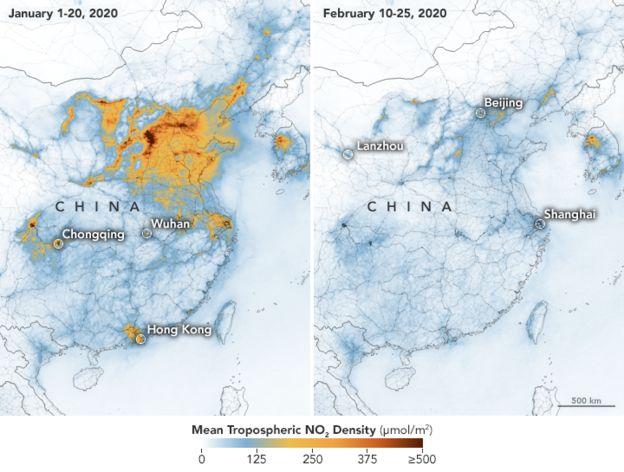 中国1月和2月的空气质量对比