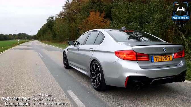 BMW M5 F90,0-300kph加速测试,极速307