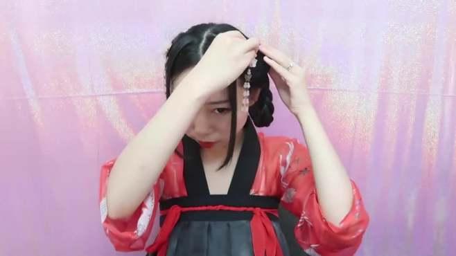 汉服和唐装适用的发型与发饰教程,妹子在美国直播哦