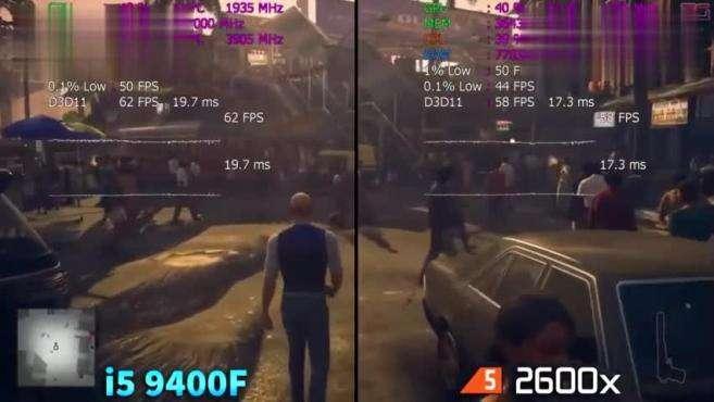 AMD 英特尔酷睿i5 9400F和锐龙5 2600x游戏性能测试对比,哪个好?