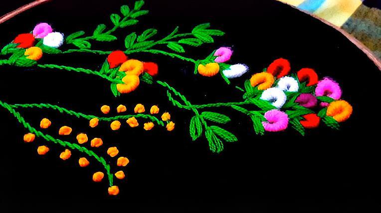 手工刺繡,來學綉這簡單好看的巴西繡花圖案吧,很簡單