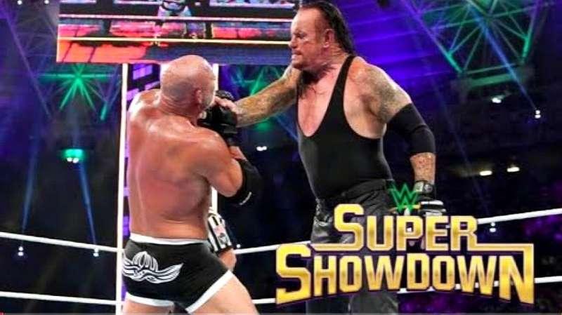 马克亨利和大秀哥_万众期待的WWE主战赛super showdown 送葬者 vs 战神高柏!_好看视频