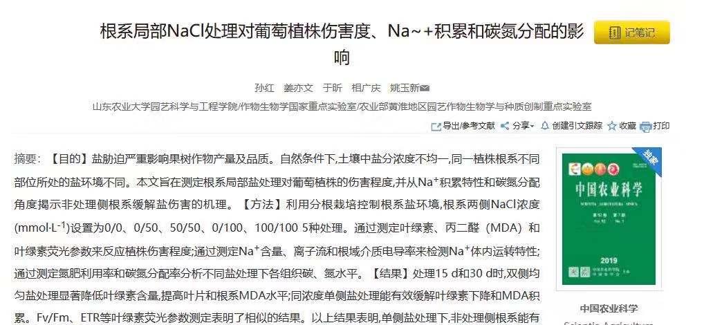 根系局部NaCl处理对葡萄植株伤害度、Na+积累和碳氮分配的影响