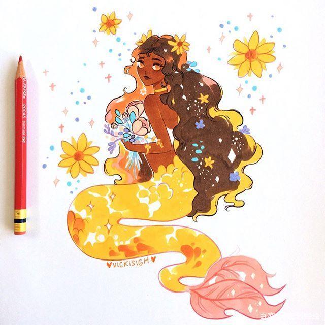 绘画素材分享马克笔,浪漫美人鱼
