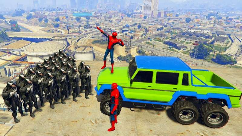 超人vs蜘蛛侠_GTA5:搞笑玩法,漫威蜘蛛侠vs毒液守护者和英雄蜘蛛侠(3)_好看 ...