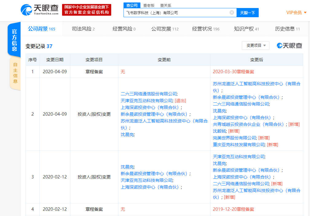 完美世界入股Facebook中国代理商飞书互动,成第五大股东