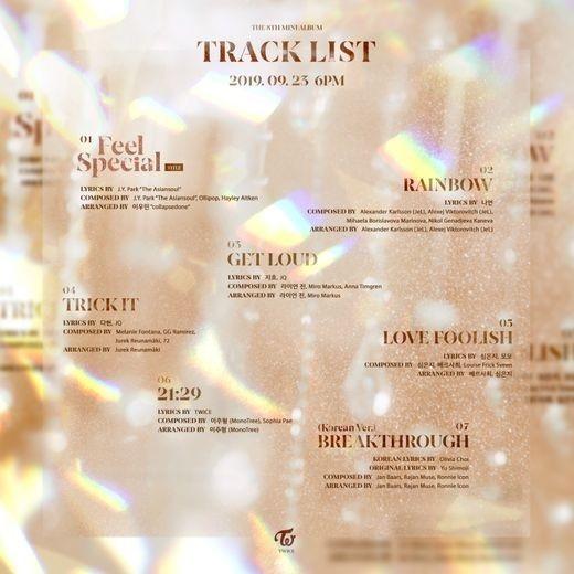 TWICE公开第8张迷你专辑《Feel Special》全体成员挑战作词