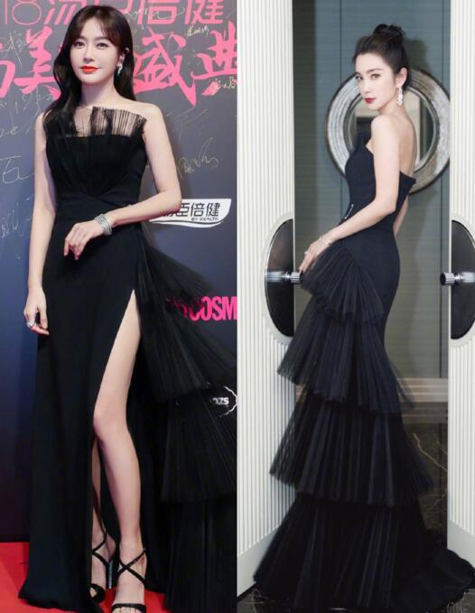 年度红毯小黑裙合集,佟丽娅倪妮气质真的绝了,却不及周韵道行深