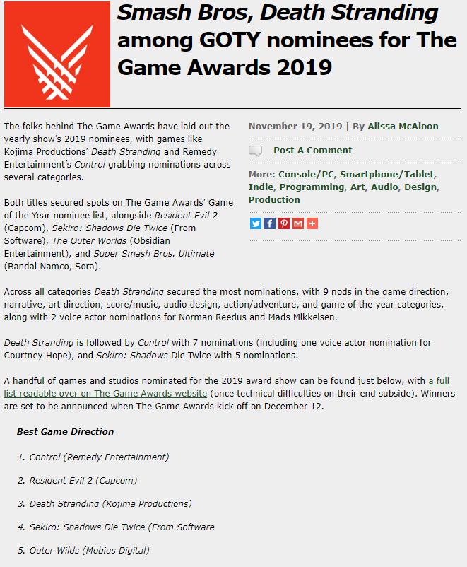 TGA公布2019年度游戏的提名 死亡搁浅、只狼:影逝二度、星际拓荒、TGA 游戏资讯