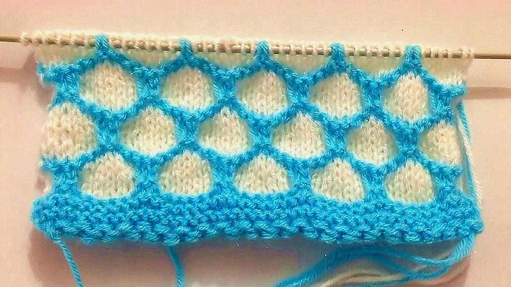 兒童毛衣雙色漁網花樣棒針編織,給寶寶織開衫好看極了