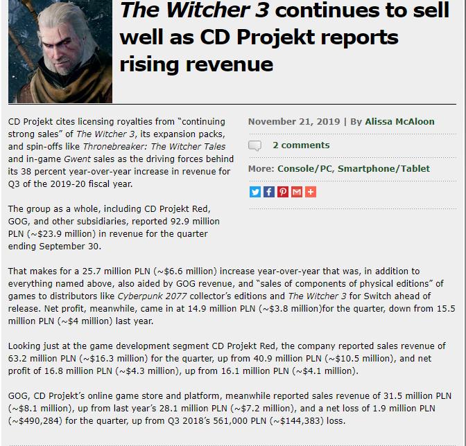 CD Projekt靠《巫师3》实现1.67亿元的季度收入  游戏资讯