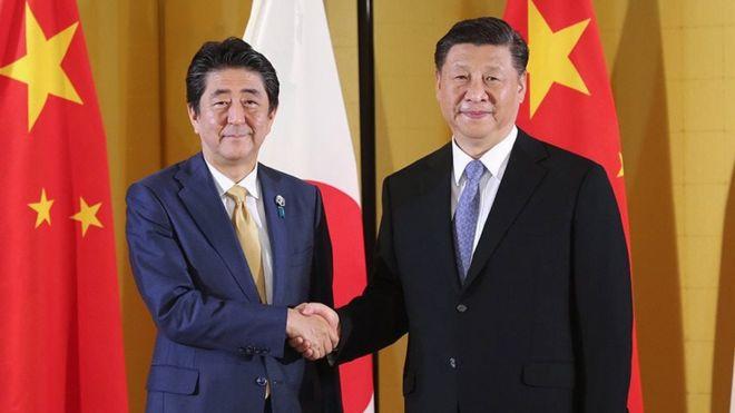 2019年6月27日,中国国家主席习近平在大阪参加G20会见日本首相安倍晋三