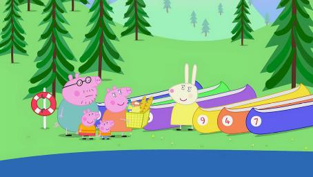小猪佩奇官方|猪妈妈提议来一次划船比赛,狗船长使出了大招!