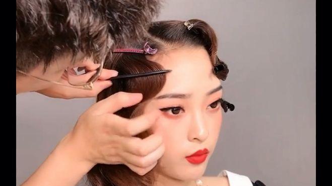 一款新娘妆手推波纹教程,这发型太美了