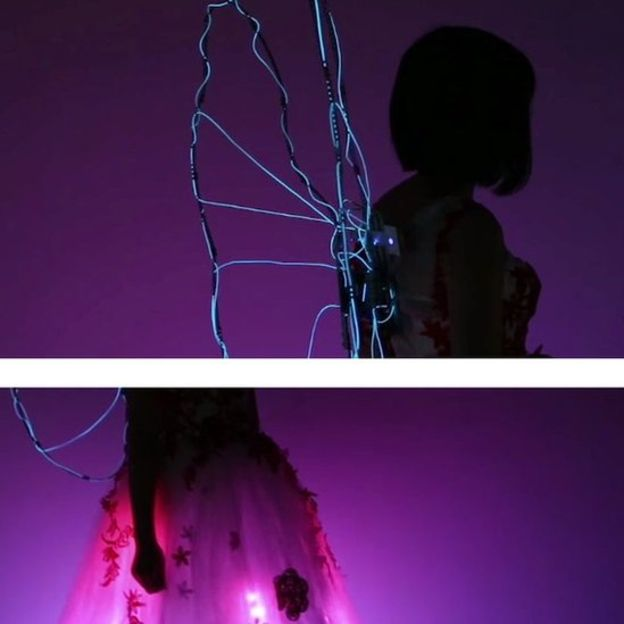 Chunlin Guan's light up LED wings and skirt.