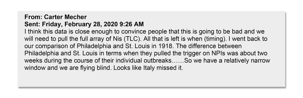 """退伍军人事务部的卡特·梅彻在2月底向同事主张进行所谓的""""定向分层阻断""""(TLC)和非医药干预(NPIs),具体措施包括关闭学校和商铺,以限制病毒传播。阿扎尔等公共卫生官员大致上也是在那段时间得出了同样的结论。"""