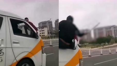 胡闹!新郎趴在面包车风挡上副驾驶用棍棒敲打 警方第二天找上门
