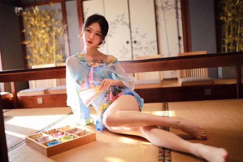 ⭐微博红人⭐抖娘-利世-coser水蓝和服[30P/81MB]插图(2)