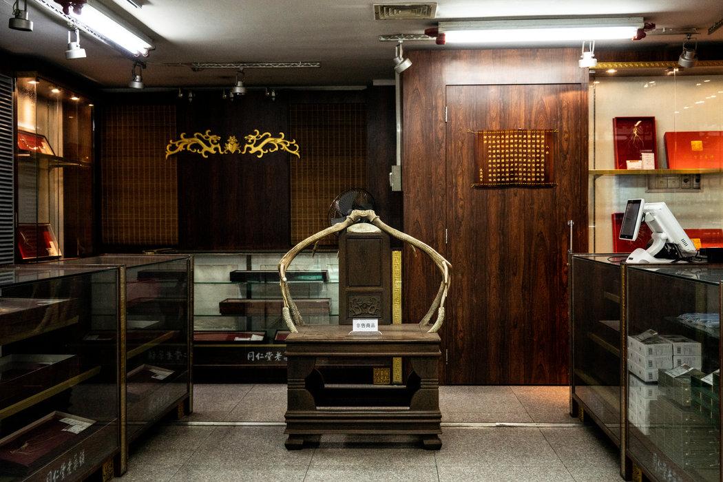 北京一家中药店展示的鹿茸。