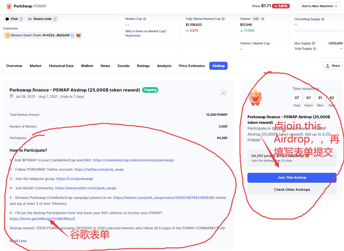 Porkswap.finance联合CoinMarketCap空投,做任务并填表有机会获取6.25 PSWAP