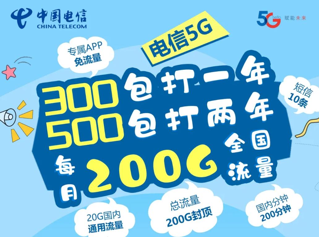北京电信校园卡: 300元1年500元2年 20G全国流量+180G定向流量 仅20元/月