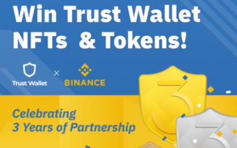 Trust Wallet & Binance 总空投25000 枚TWT代币(价值10000美金)和 Trust Wallet NFTs,随机抽选100名参与者获得空投。