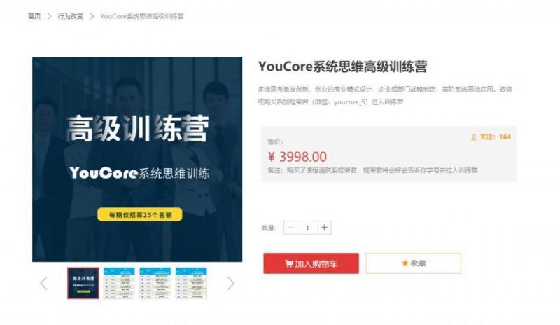 "YouCore系统思维应用:高级训练营,真正从""知道""到""做到"" 价值3998元"