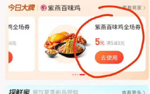 支付宝app搜【消费券】反馈部分地区可以领紫燕百味鸡5