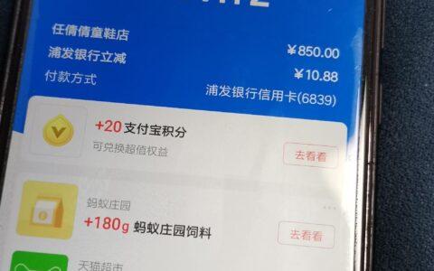 支付宝用浦发xing/用卡扫码付850减了10.88元