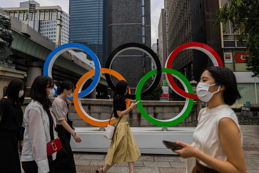 上周,东京街头的奥运五环。奥运会将于周五开幕。