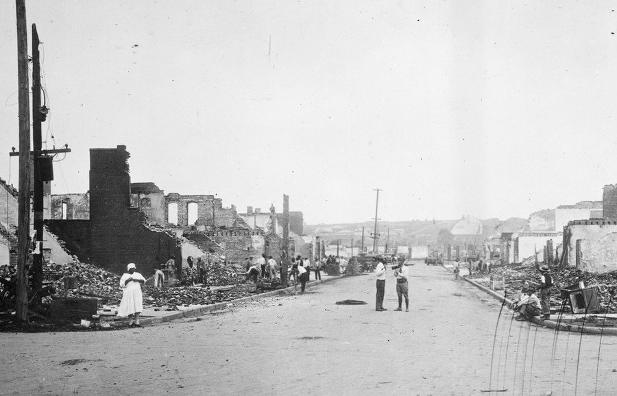 June 1, 1921, a view of some of the aftermath of the Tulsa Race Massacre.