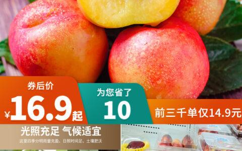@所有人!当季新鲜现摘黄心油桃!超市促销价,一斤都