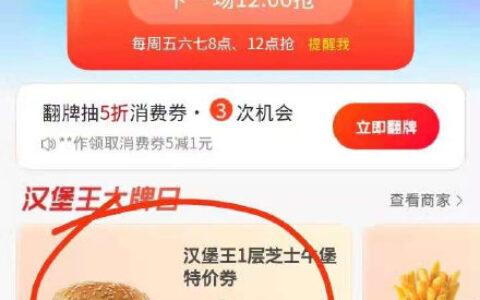 支付宝app搜【消费券】反馈可领汉堡王芝士牛堡0元购券