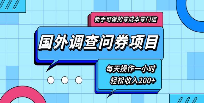 新手零成本零门槛可操作的国外调查问券项目,每天一小时轻松收入200+