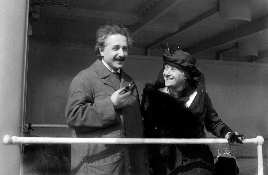 Albert Einstein, with his 2nd wife Elsa Lowenthal Einstein, photographed aboard a ship in April of 1921. Einstein was awarded the 1921 Nobel Prize in Physics