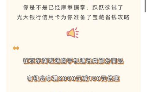 光大双十一期间京东手机2000-100